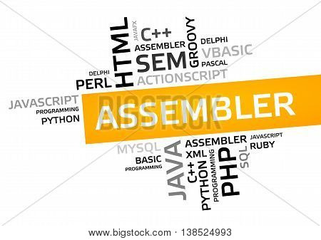 Assembler Word Cloud, Tag Cloud, Vector Graphic