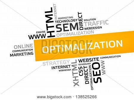 Optimalization Word Cloud, Tag Cloud, Vector Graphic