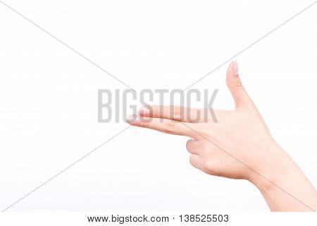 finger hand symbols isolated concept aim pointing gun hand killer on white background