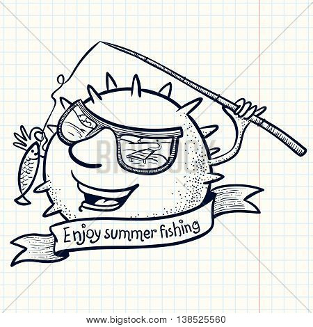 Cute doodle sun character with banner and fishing rod