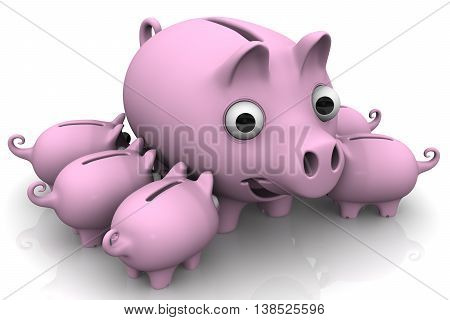Pig piggy bank with children. Little pink pig-piggy suck a big sow. Isolated. 3D Illustration