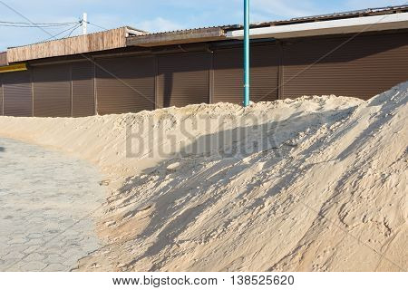 Covered With Sand Trade Pavilions Located At The Sandy Sea Beach