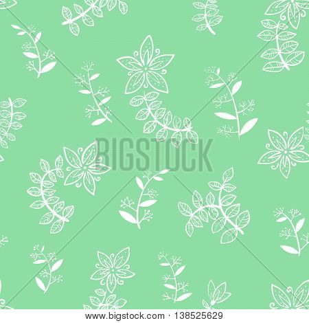 Doodle vector green minimalistic floral seamless background