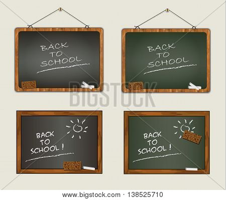 blackboard collection back to school wood frame vector chalk