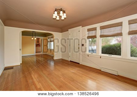 Empty Living Room Interior With Mocha Ceiling And Hardwood Floor