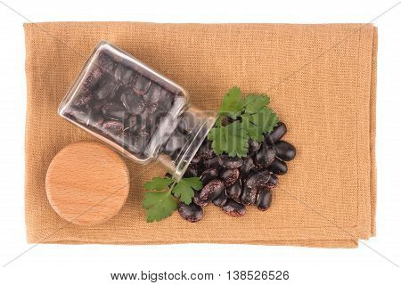 Dried kidney legumes haricot beans isolated on white background close up