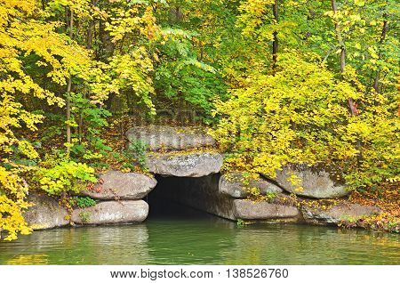 Autumn Park Tree Over Grotto