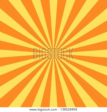 Yellow orange rays poster. Popular ray star burst background television vintage. Dark-light bright abstract texture with sunburst flare beam. Retro art design Glow bright pattern Vector Illustration