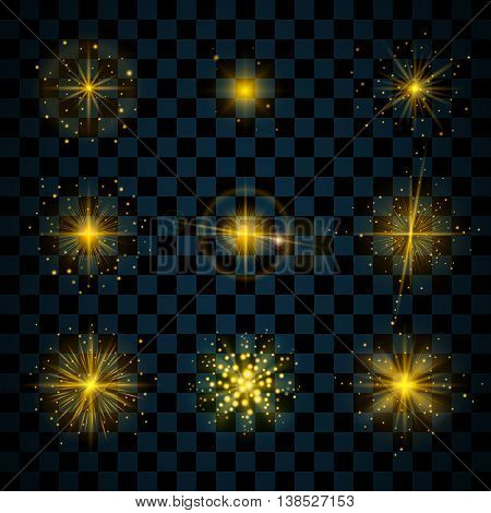 Gold shine stars with glitters sparkles icons set. Effect twinkle glare scintillation element sign graphic light. Transparent design elements dark background. Varied template. Vector illustration