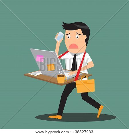 Abstract businessman bearing his desk with working all time vector illustration.