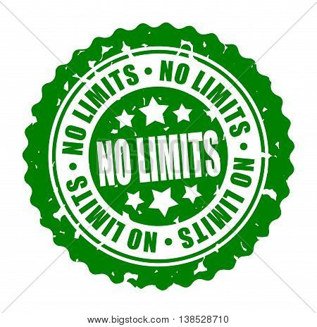 Vector illustration round stamp NO LIMITS isolated on white background