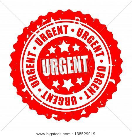Vector illustration round stamp URGENT isolated on white background