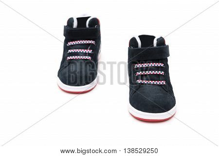 pair of black stylish shoes for kid on white background