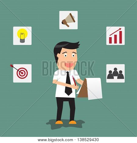 businessman writing on clipboard or document checklist with strategy icons vector illustration.