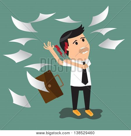 businessman having shoulder pain while working. flat design vector illustration.