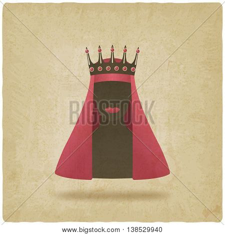 Queen in red veil old background. vector illustration - eps 10