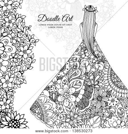 Vector illustration Zen Tangle girl in a floral dress. Doodle flowers, tree. Coloring book antis stress for adults. Black and white.