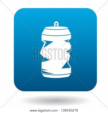 Crumpled empty soda or beer can icon in simple style on a white background