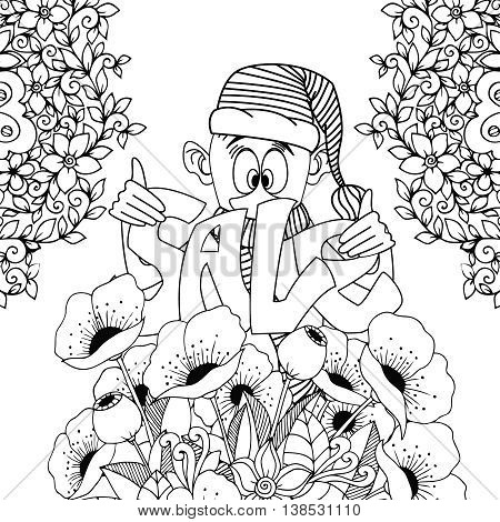 Vector illustration Zen Tangle, gnome holding Sale inscription. Doodle flowers. Coloring book anti stress for adults. Black and white.