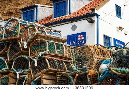 STAITHES ENGLAND - JULY 12: The RNLI lifeboat station. In Staithes North Yorkshire England. On 12th July 2016.