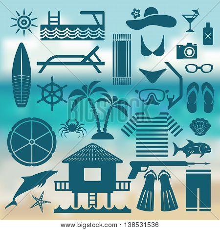 seaside holiday icon set. vector illustration - eps 10