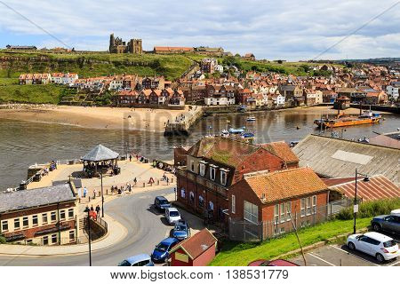 High viewpoint of Whitby, showing the Abbey and town. In Whitby, North Yorkshire, England. On 12th July 2016.