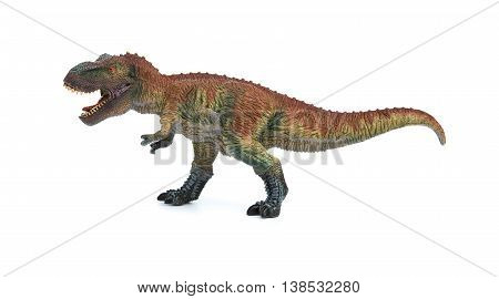 side view tyrannosaurus toy on a white background