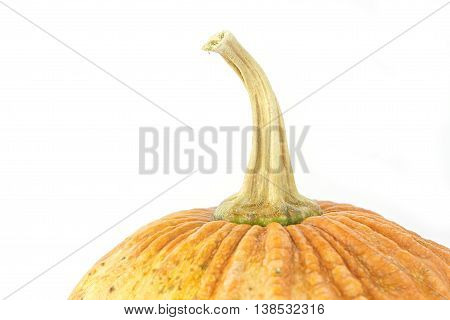 Small asian yellow pumpkin on white background. Object side view