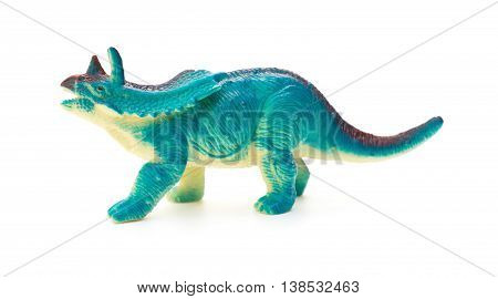 side view blue Pentaceratops on a white background