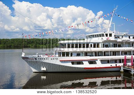 UGLICH, RUSSIA - JULY 03, 2016: Cruise ship Viking Akun is at the pier of Uglich. Uglich is a historic town in Yaroslavl Oblast, Russia, which stands on the Volga River.