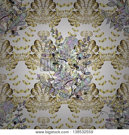 Seamless vintage pattern on whit background with golden elements and shadows.