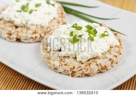 crisp breads with cottage cheese and onion choppes in rings on the white plate on the bamboo napkin