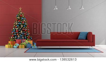 Red And Gray Christmas Living Room