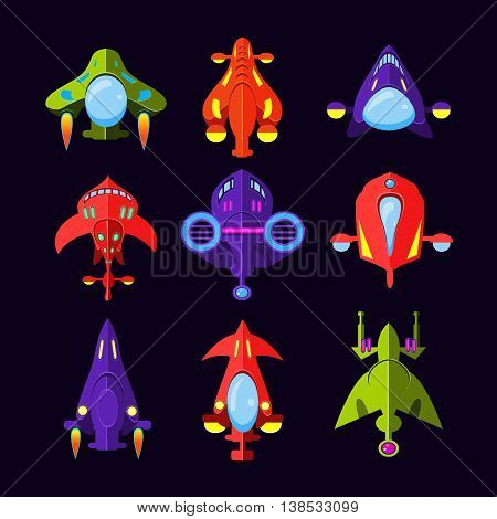 Flying Saucer, Spaceship And UFO Set. Illustration of a set of cartoon funny UFO, unidentified spaceship and spacecrafts from alien invaders, with various futuristic shapes