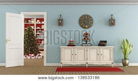 Retro Living Room With Christmas Decoration