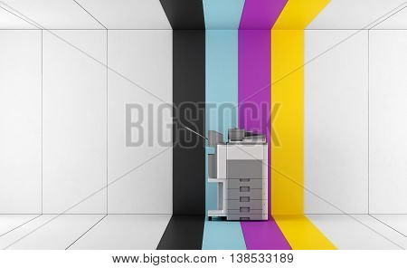 Multifunction printer in a room with colorful panel - 3d rendering