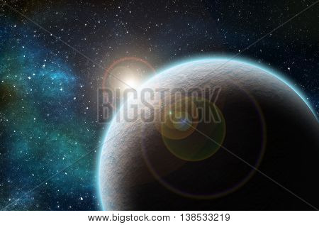 Illustration of exoplanet in front of a star.