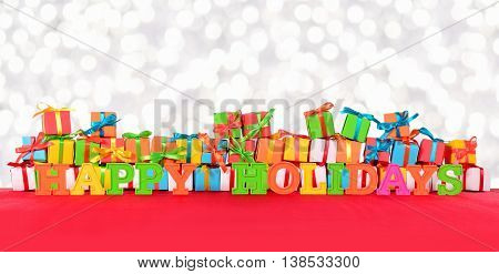 Happy Holidays Colorful Text And Varicolored Gifts