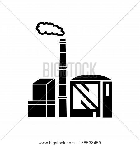Chimney and building of chemical plant icon in simple style isolated on white background. Chemistry symbol