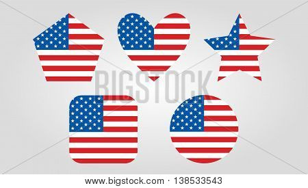 Isolated USA vector graphic icons on gray background