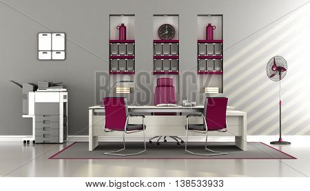 Gray And Purple Modern Office