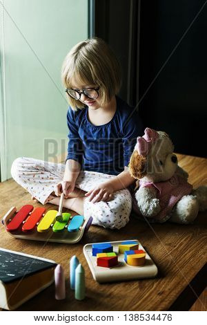 Kid Playing Xylophone Toy Enjoy Concept