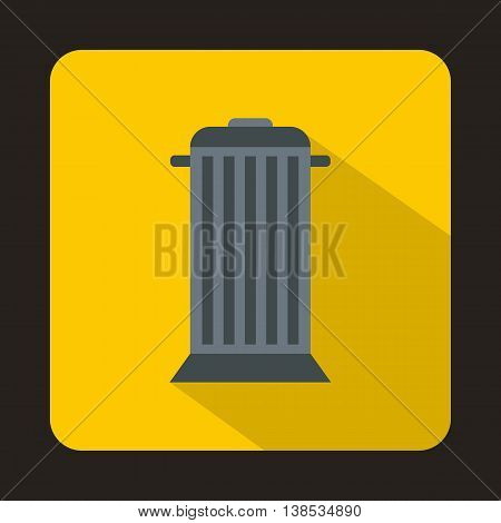 Street trash icon in flat style with long shadow. Garbage symbol