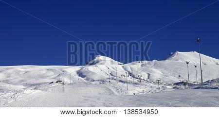 Panoramic View On Ski Resort At Sun Day