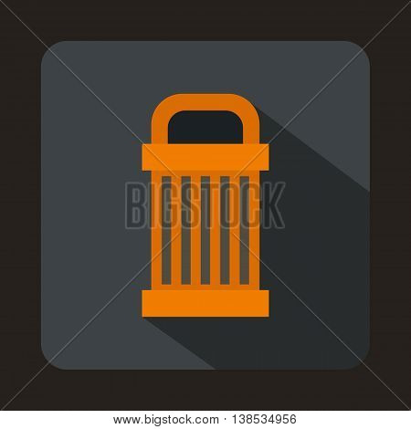 Trash icon in flat style with long shadow. Garbage symbol