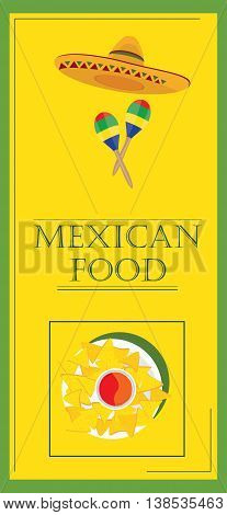 Vector illustration mexican food poster for restaurant. Mexican traditional food cafe restaurant and bar banner. Mexican menu template