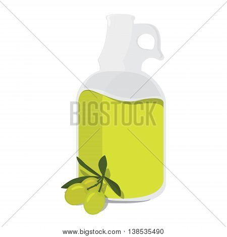 Vector illustration bottle with olive oil extra and branch of green olives with leaves or cooking gastronomy oil and vegetarian design