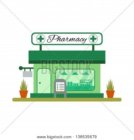 Pharmacy house icon in flat style. Drugstore vitrine - vector illustration.