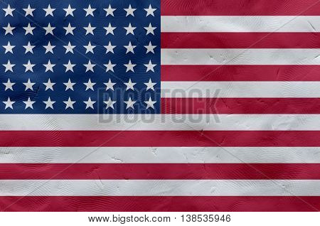 United States of America (USA) national flag made of plasticine (national symbol).