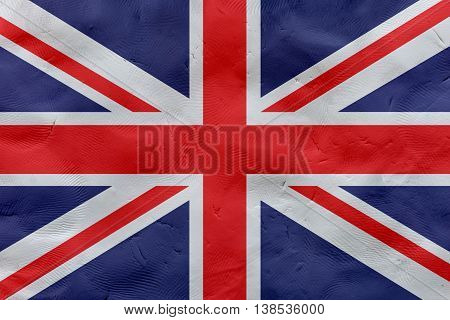 Great Britain (UK) national flag made of plasticine (national symbol).